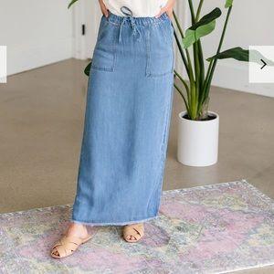 INHERIT CO L Long Chambray Denim Skirt Drawstring